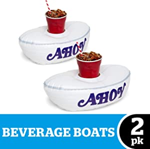 "BigMouth Inc. Stranger Things Scoops Ahoy Beverage Boats – Two Pack – 14"" Inflatable Drink Holders, Easy to Inflate/Deflate, Holds Cups, Cans, or Bottles, Makes a Great Gift Idea"