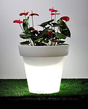 point-garden Blumenkübel Pflanzkübel Pflanzgefäß weiß beleuchtet ...