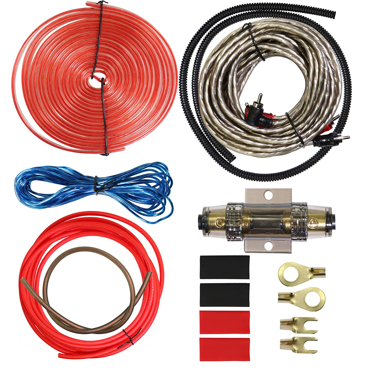 RCA Cable,Speaker Wire Ground Split Loom Tubing and Fuse Holder 8 Gauge Complete Amp Kit Amplifier Installation Wiring Wire Kit,Includes Power Remote Cable Welugnal Car Amplifier Wiring Kit