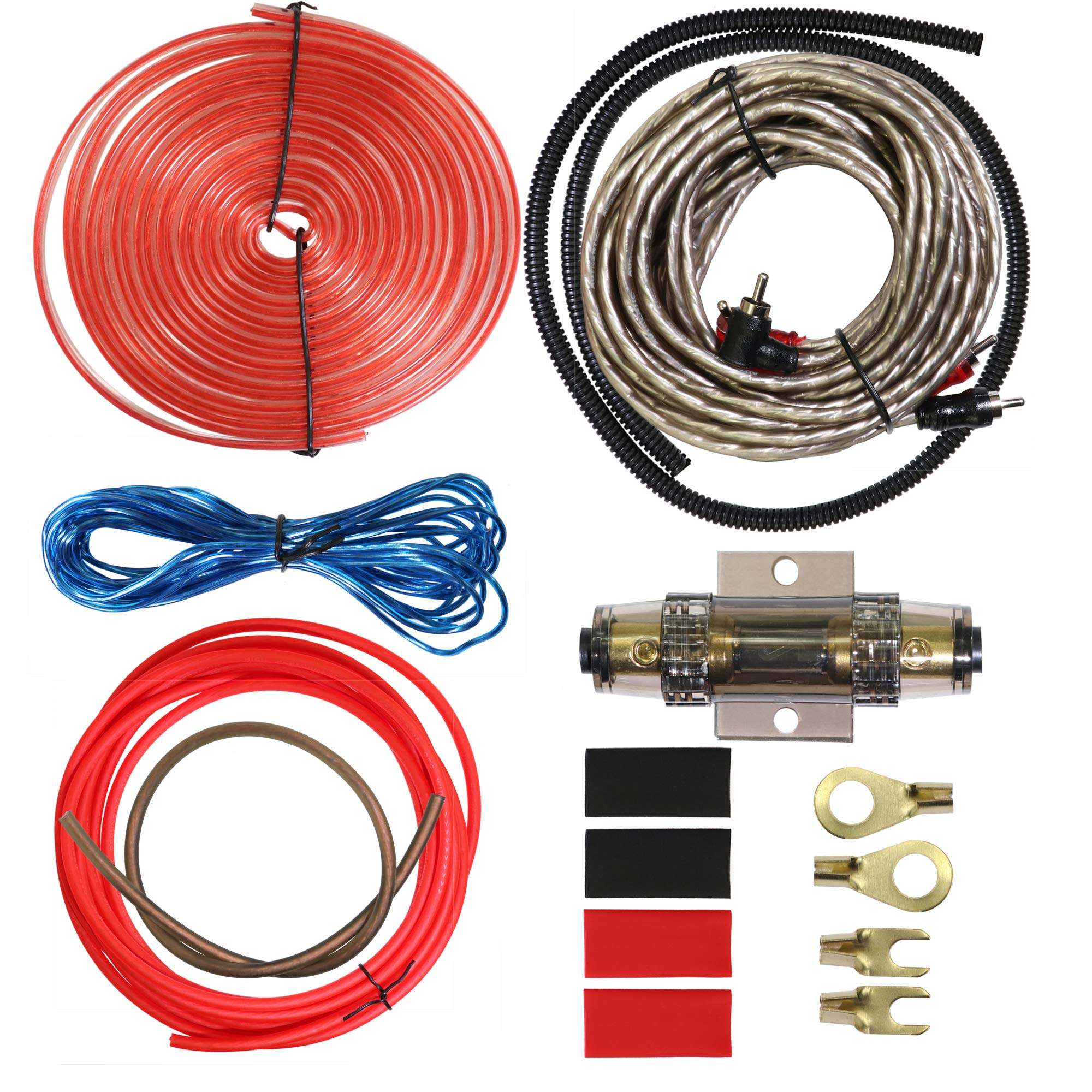 Welugnal Car Amplifier Wiring Kit - 8 Gauge Complete Amp Kit Amplifier Installation Wiring Wire Kit,Includes Power, Ground, Remote Cable, RCA Cable,Speaker Wire, Split Loom Tubing and Fuse Holder