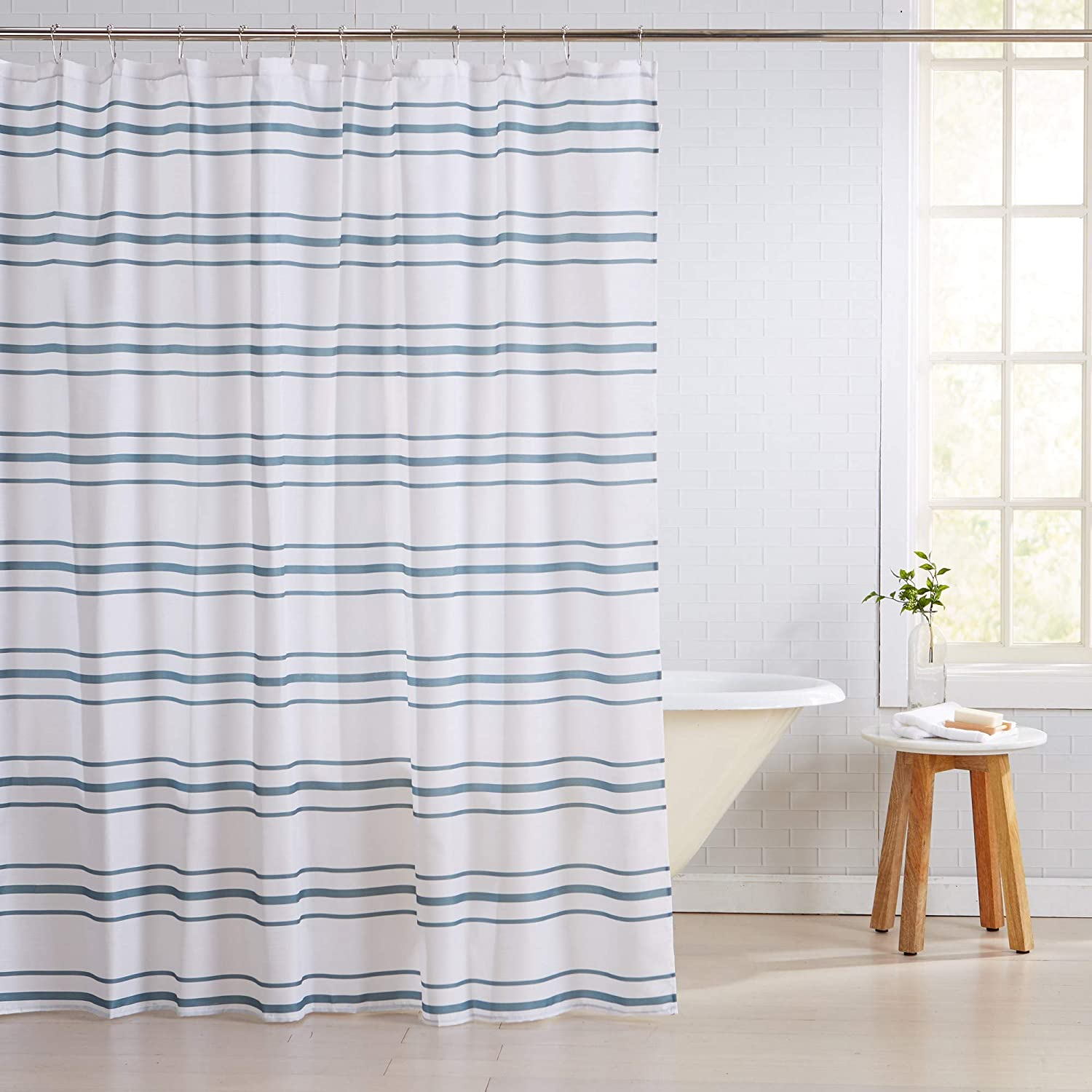 Great Bay Home Fabric Shower Curtain with 12 Roller Hooks. Mold and Mildew Resistant. Elsie Collection. 72-Inch, Tri Stripe - Blue