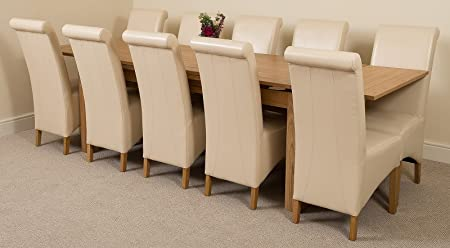 Richmond Large Extending Solid Oak Dining Table 10 Ivory Leather Chairs 100