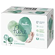Diapers Newborn/Size 0 (< 10 lb), 92 Count - Pampers Pure Disposable Baby Diapers, Hypoallergenic and Fragrance Free Protection, Giant