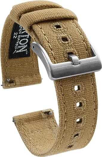 Barton Watch Bands - Correas de tela para reloj de pulsera con cierre rápido - Disponible en varios colores y anchos (18mm, 20mm y 22mm): Amazon.es: Relojes