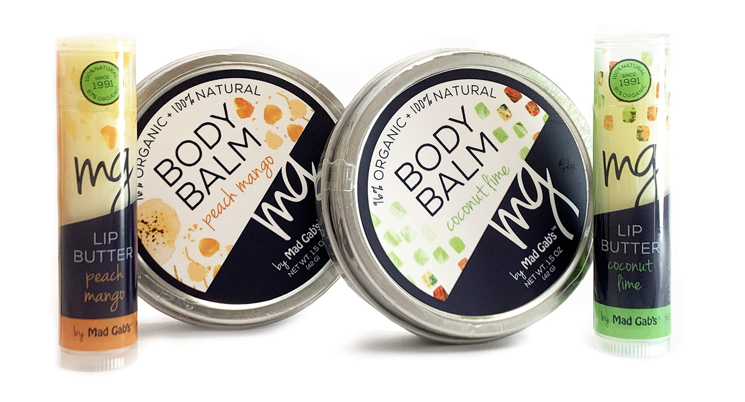 Mad Gab's MG Signature 4-Piece Natural & Organic Coconut-Lime/Mango/Peach Balm & Lip Butter Sticks Gift Set by Mad Gab's