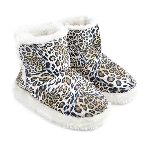 Zapatillas/Botines de Estar por casa de Pelo con Estampado de Leopardo para Mujer (