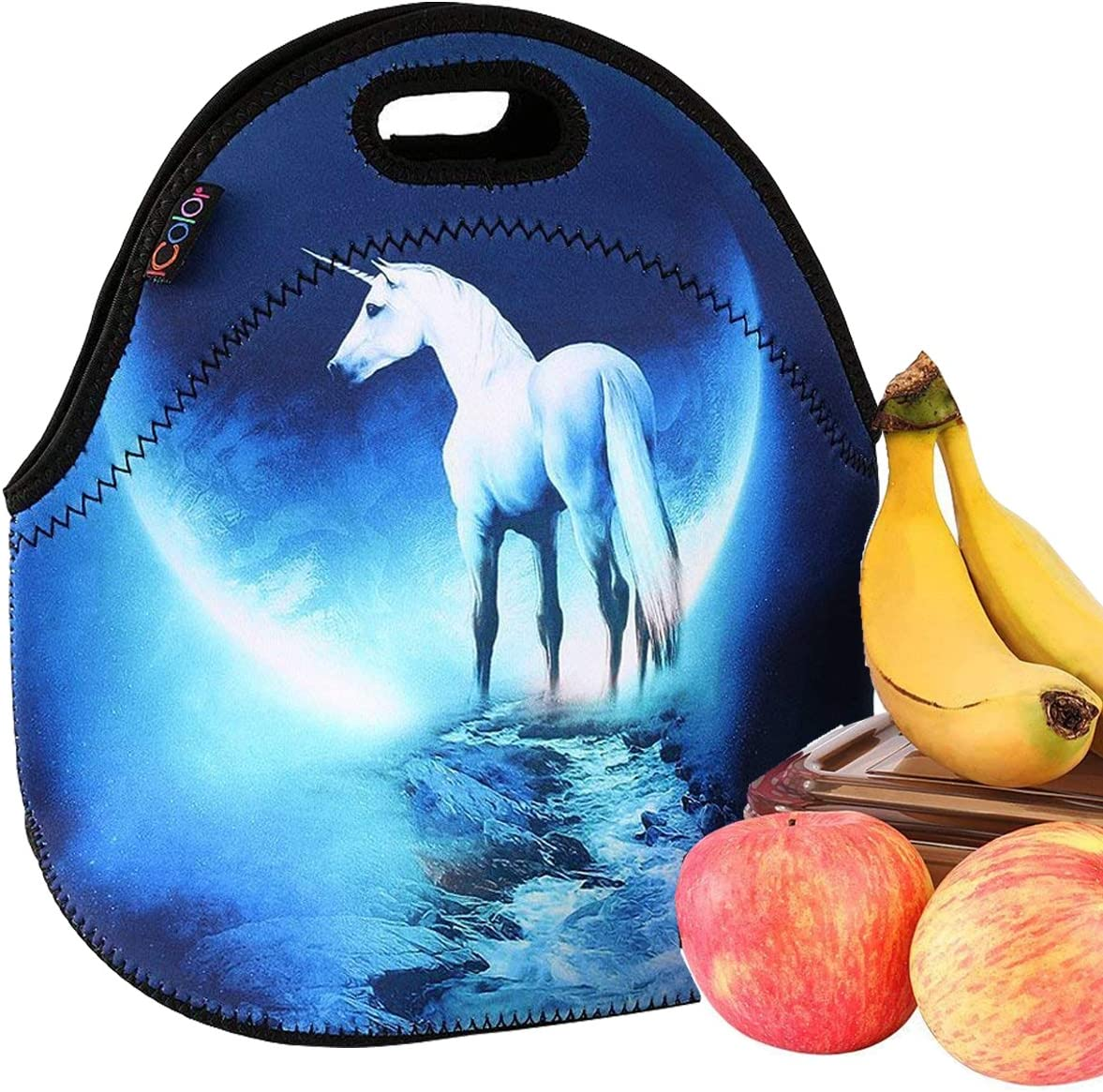 iColor Unicorn Universal Neoprene Sleeve Lunch bag Insulated warm/cold lunchbox Cooler Pouch Shopper Tote baby Portable Waterproof Cover Kids Handbag Food Carrying Case Protector Handle School Work