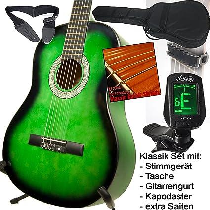Escolar Guitarra clásica verde schattiert, con LED Afinador, funda ...