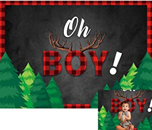 Allenjoy 7x5ft Lumberjack Baby Shower Backdrop Black and Red Buffalo Plaid Rustic Woodland Oh Boy Photography Background for Boys 1st First Birthday Party Decor Banner Photoshoot Booth Props