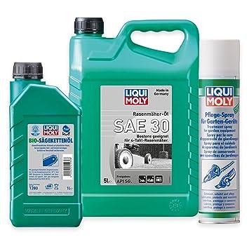 Liqui Moly Cortacésped aceite SAE 30 1266 5L + BIO Sierra kettenöl 1280 1L + Spray