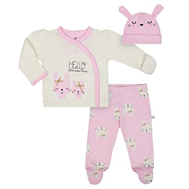 5fdca7b281d Amazon.com  JUST BORN Baby Girls  3-Piece Organic Take Me Home ...
