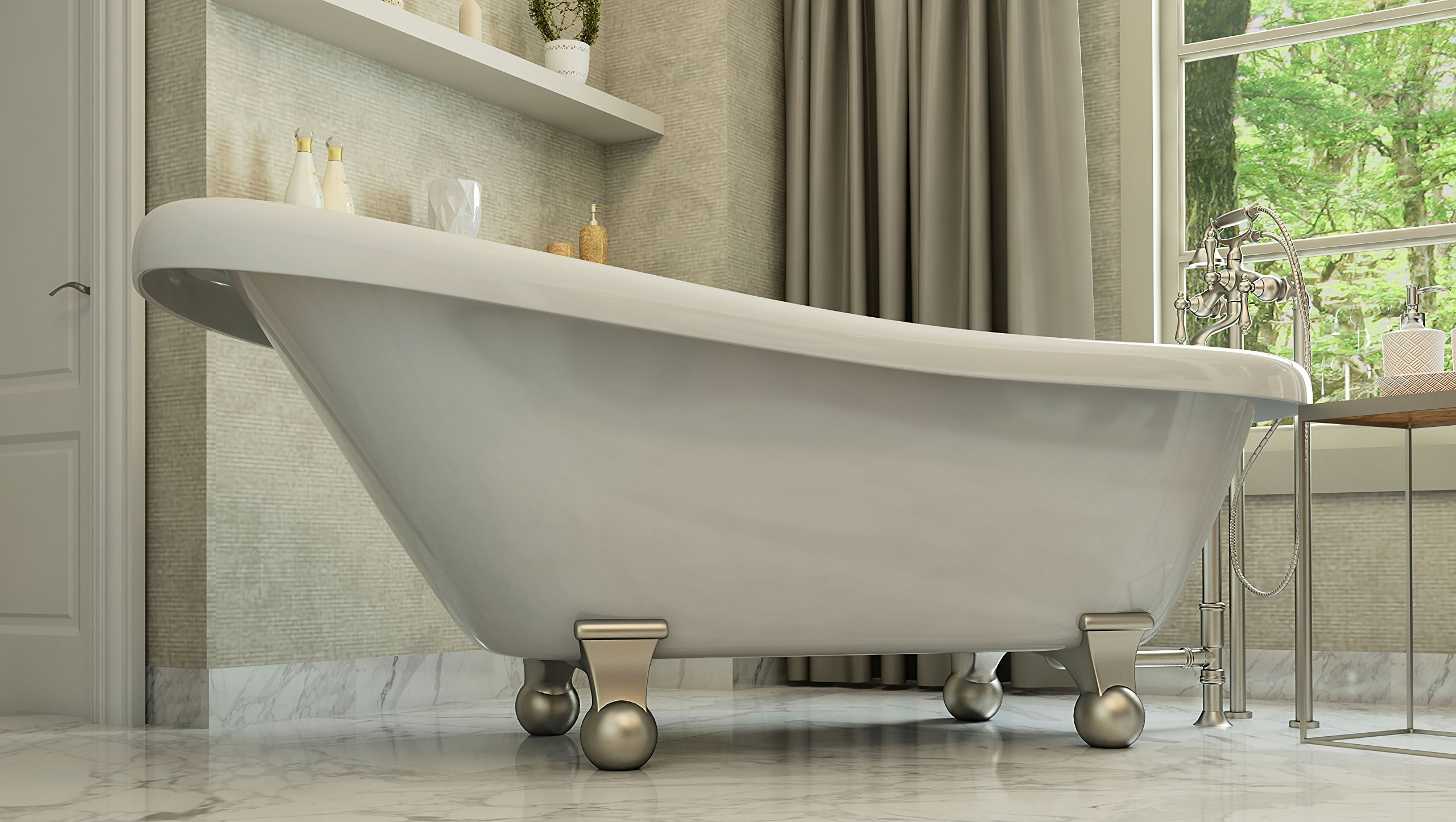 Luxury 60 inch Modern Clawfoot Tub in White with Stand-Alone Freestanding Tub Design, Includes Modern Brushed Nickel Cannonball Feet and Drain, From The Brookdale Collection by Pelham & White (Image #3)