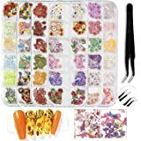 Nail Dried Flowers 3D Nail Art Supplies Set Sunflower Butterfly Letter Rose Nail Stickers Decals Decoration Tips Manicure Dec