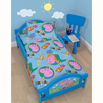 Peppa Pig George Family Childrens Toddler Junior Cot Bed Boys Blue