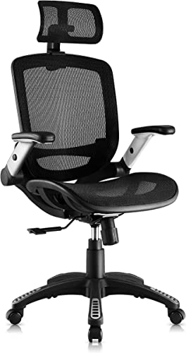 Gabrylly Ergonomic Mesh Office Chair, High Back Desk Chair – Adjustable Headrest with Flip-Up Arms, Tilt Function, Lumbar Support and PU Wheels, Swivel Computer Task Chair