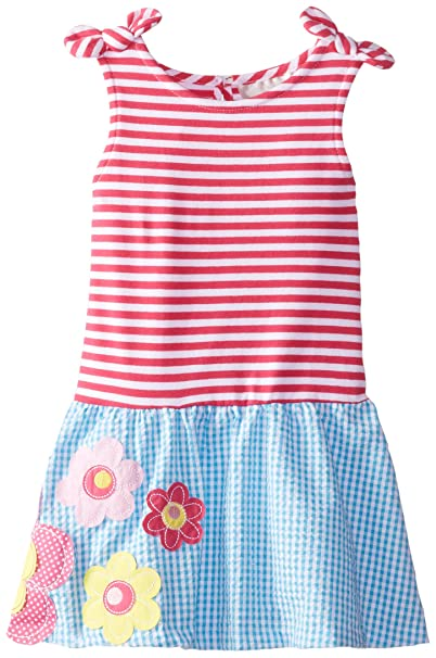 bbb65b6602ca Amazon.com  Rare Editions Little Girls  Striped To Seersucker Romper with  Flower Appliques  Clothing