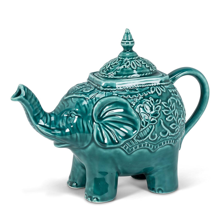 Amazon.com   Turquoise Ceramic Ornate Elephant Teapot Teal 10 ...