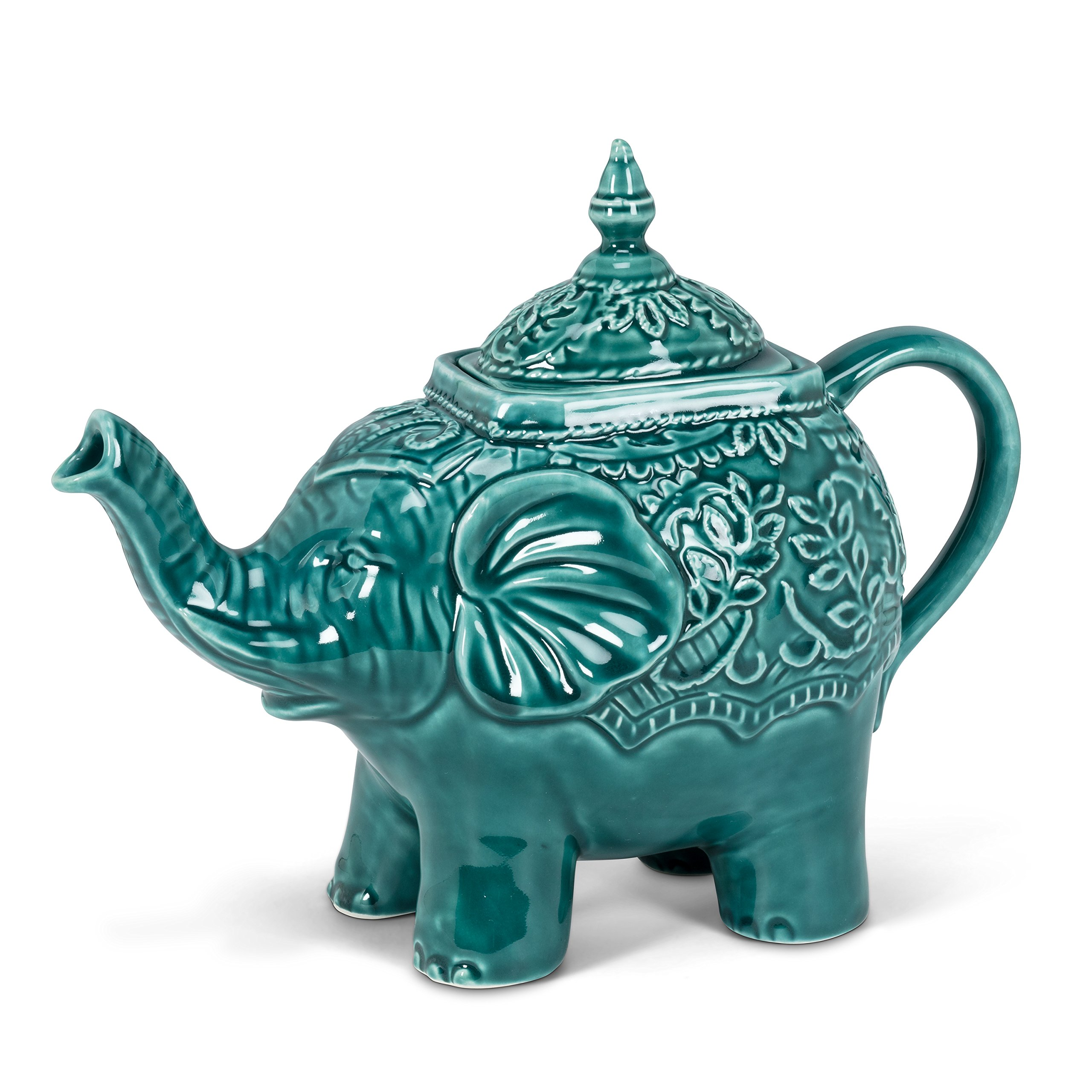Abbott Collection 27-Mahout/Teal Ornate Elephant Teapot-Teal-10 L