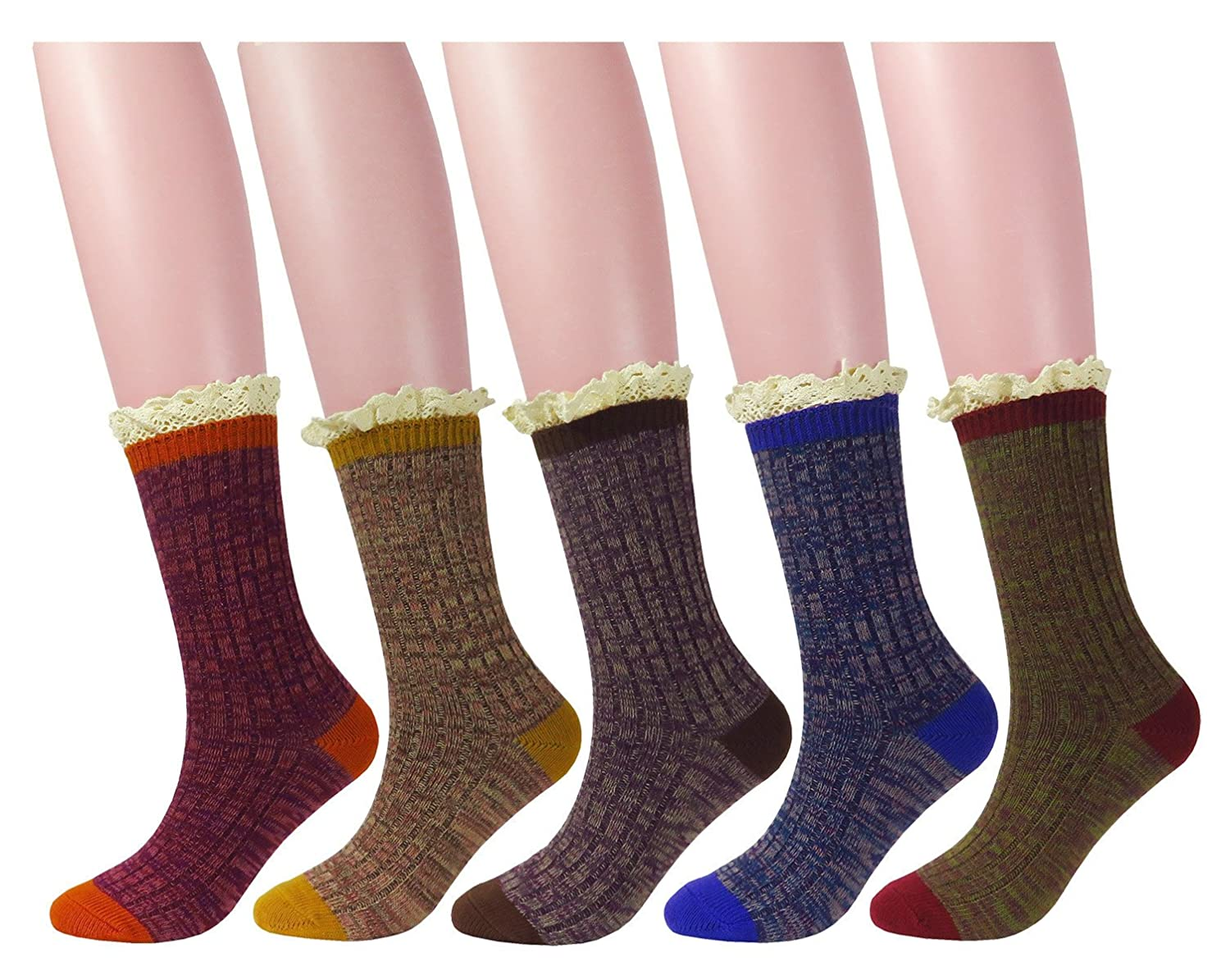WEILAI SOCKS Women 5 Pack Vintage Lace Winter Wool Warm Comfort Cozy Crew Socks