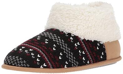 Dearfoams Women's Patterned Knit Bootie, Black, L Medium US