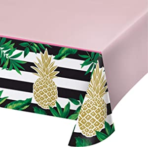 Golden Pineapple Plastic Tablecloths, 3 ct