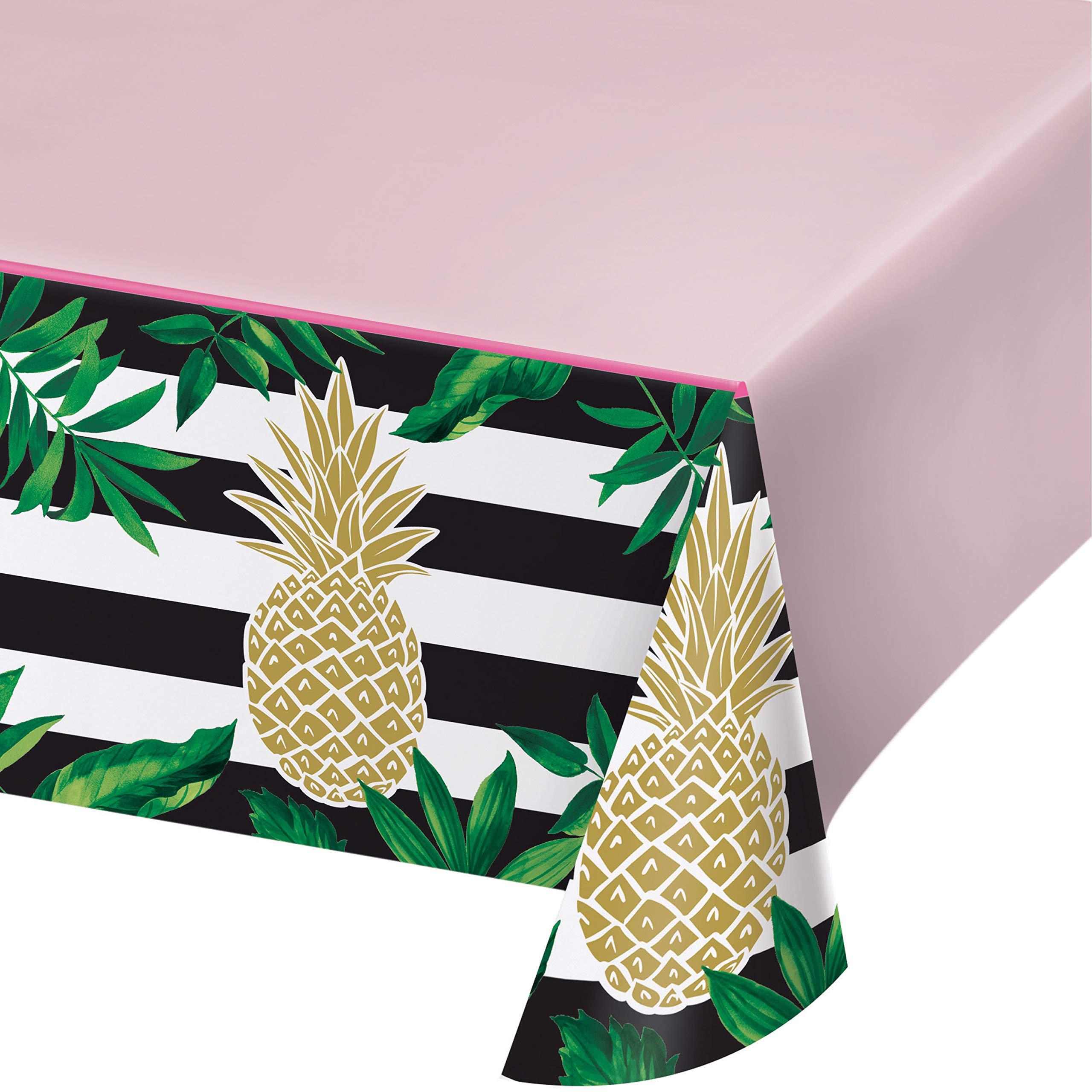 Golden Pineapple Plastic Tablecloths, 3 ct