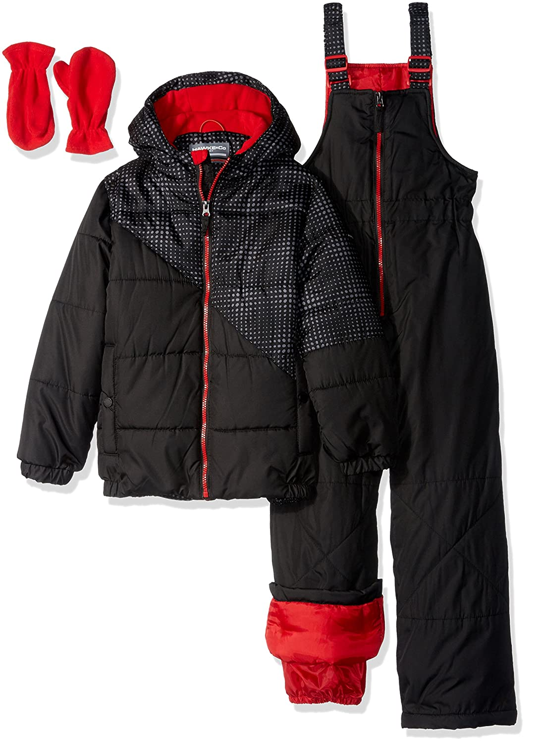 Hawke & Co. Boys' 2 Piece Snow Suit with Optic Dot Print and Bib Pant 61037H