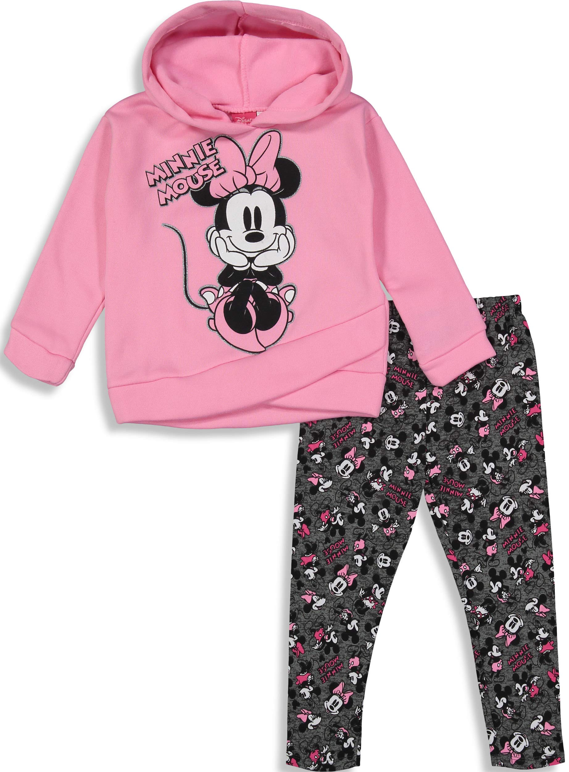 Disney Minnie Mouse Toddler Girls' 2-Piece Fleece Hoodie & Legging Set, Pink Glitter 2T