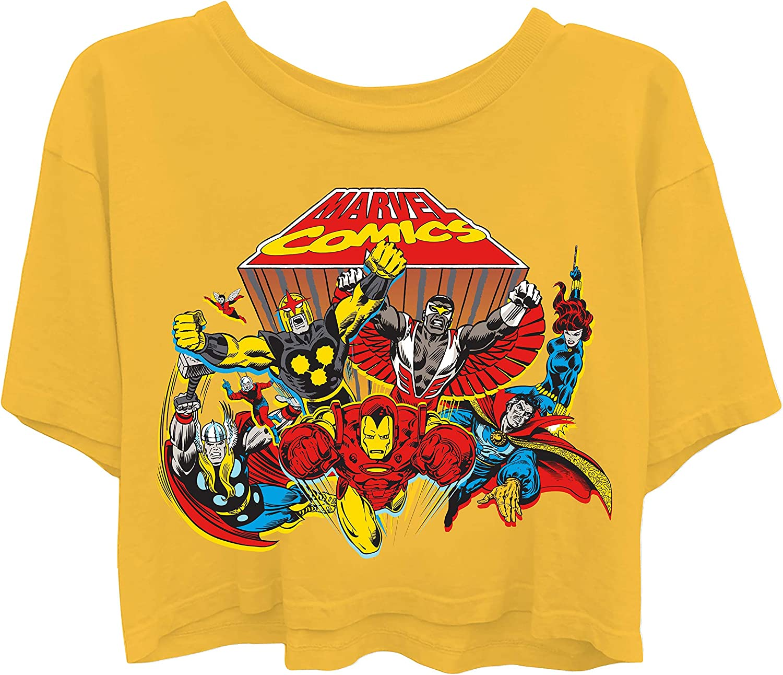 Throwback Classic T-Shirt Ironman Spiderman Captain America /& Hulk Tee Marvel Ladies Comics Group Shirt
