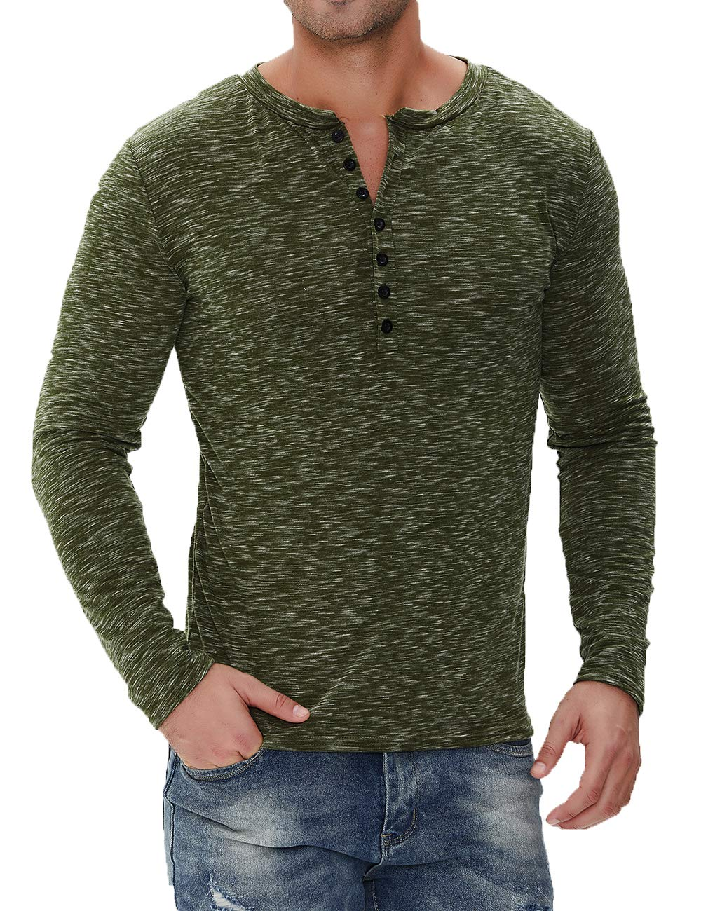 BABEIYXM Men's Soild Henley Short/Long Sleeve Tops Buttons Front Casual T Shirts Tee,Army Green,S