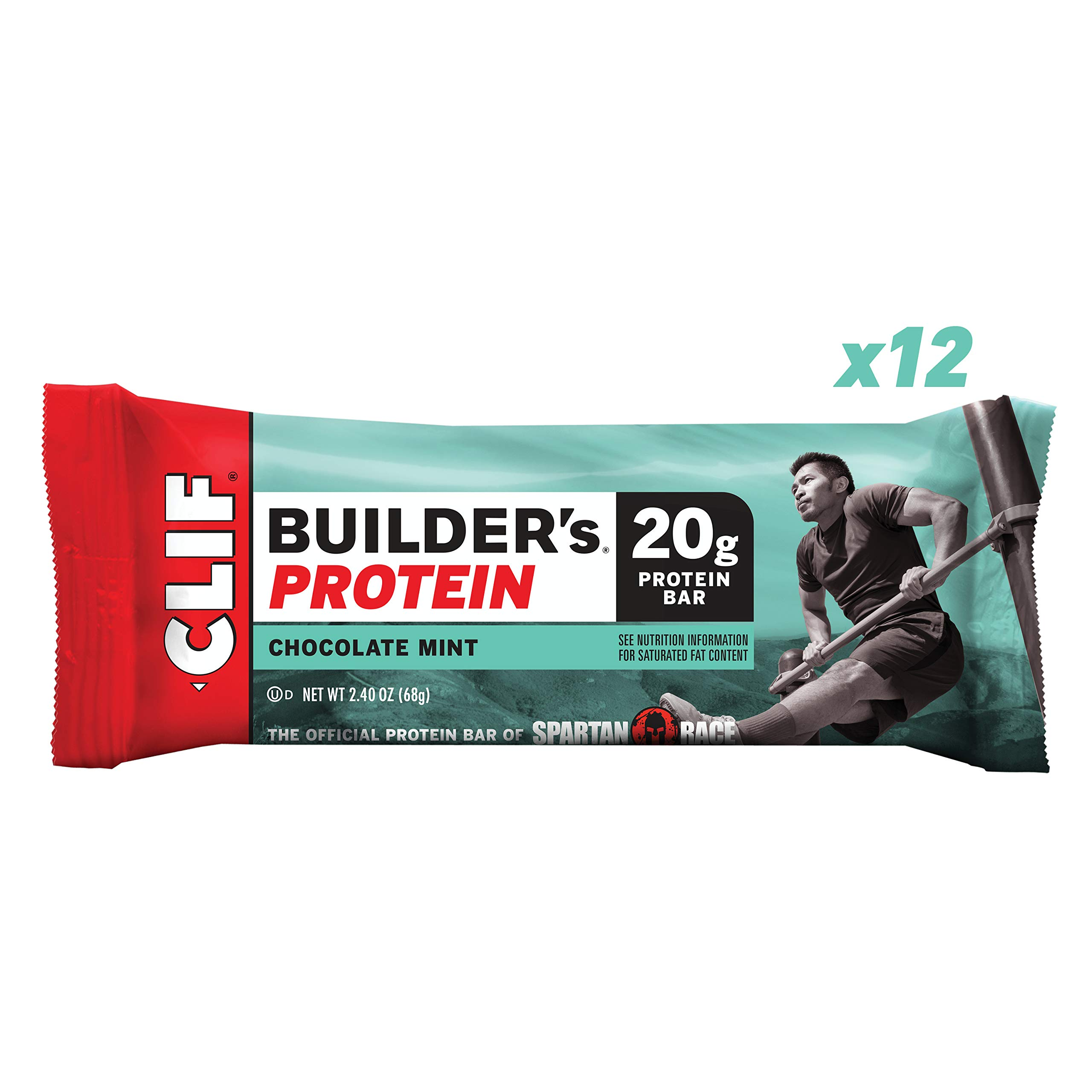 CLIF BUILDER'S - Protein Bars - Chocolate Mint - (2.4 Ounce Non-GMO Bars, 12 Count) by Clif Bar