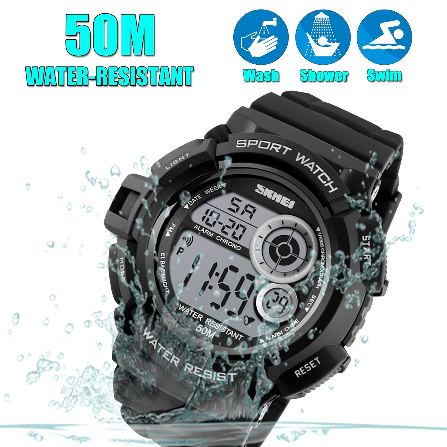 Men's Digital Sports Watch LED Screen Large Face Military Watches and Waterproof Casual Luminous Stopwatch Alarm Simple Army Watch Black by USWAT (Image #2)