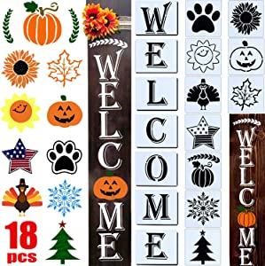 18 PCS Welcome Stencil for Painting on Wood,Home Sign Stencils Reusable Porch Sign and Front Door Vertical Welcome Comes with Stencil-Sunflower,Dog Paw Stencil and orther Pattern (Style 1)