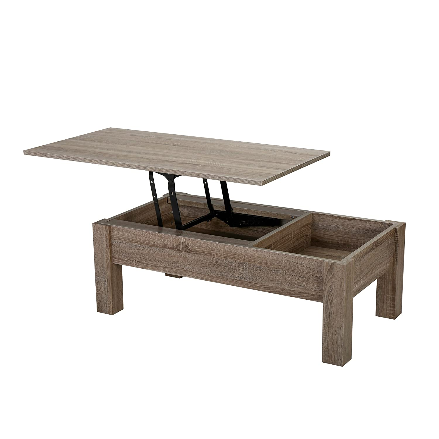 Amazon Enida Dark Brown Wood Lift Top Storage Coffee Table