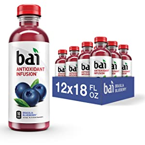 Bai Flavored Water, Brasilia Blueberry, Antioxidant Infused Drinks, 18 Fluid Ounce Bottles (Pack of 12)