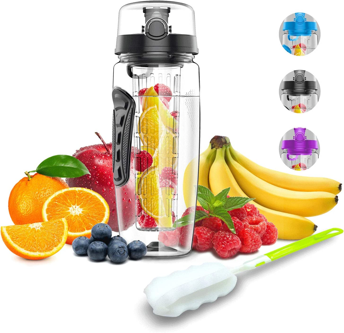 Babacom Botella Agua con Filtro infusor para Fruta 1Litro100% sin BPA Ideal para Oficina, Gimnasio, Yoga, Bici, Incluye un Cepillo de Limpieza
