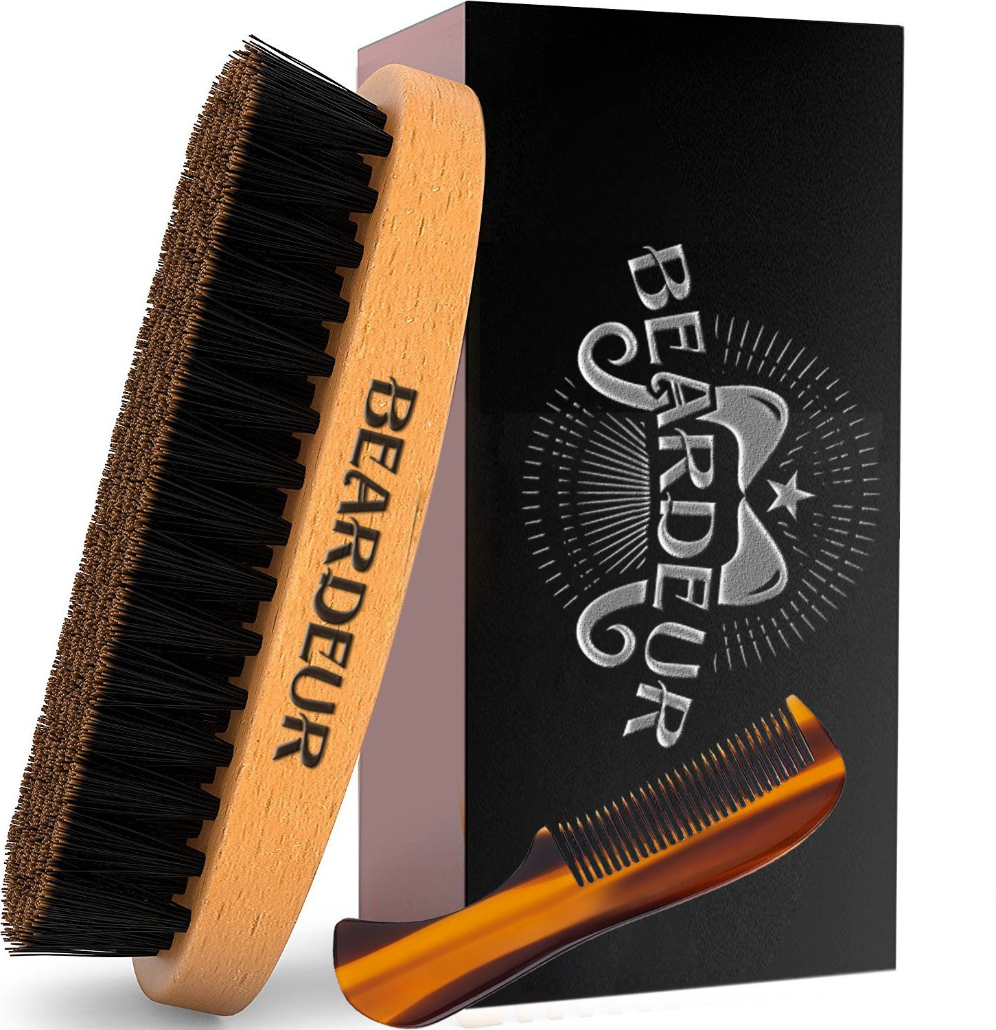 Beard Brush, Best Natural Wooden Hair Brush For Men, 100% Firm Black Wild Boar Bristle, Use with Balm & Beard Oil to Style & Groom, Unique Vintage Packaging, Premium Military Style Palm Brush for Beard Care, Barbers Grooming Tool, Lifetime Guarante