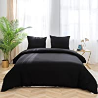 Quilt Cover Set 3-Piece Double Duvet Cover Set Plain Brushed Microfiber Bedding with 2 Pillowcases