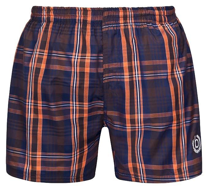 28d18e45c3 Bugatti Men's Swim Shorts in Navy/Grey Navy/Orange Kariert: Amazon ...