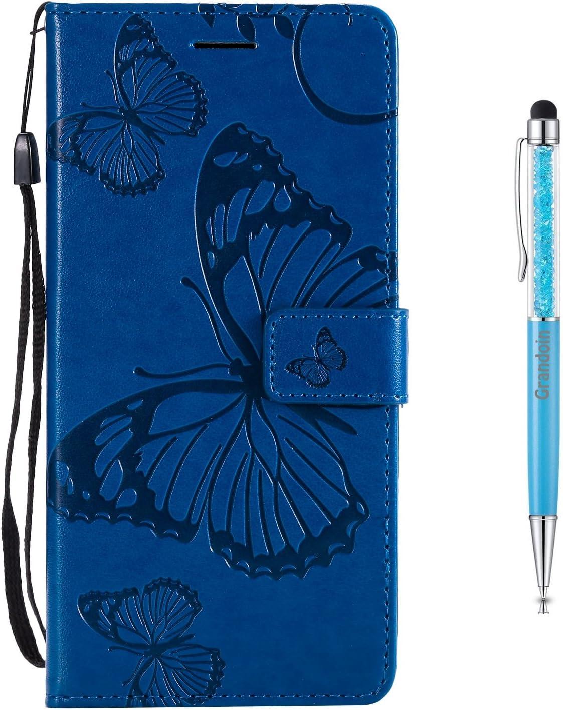 Grandoin Moto E4 Plus H/ülle Handyh/ülle im Brieftasche-Stil f/ür Motorola Moto E4 Plus Handytasche PU Leder Flip Cover Schmetterling Muster Design Premium Book Case Schutzh/ülle Etui Case Gr/ün