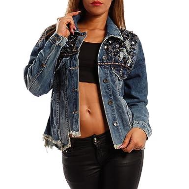 Damen Jeansjacke mit Pailletten denim jacket Fransen am Saum,  Farbe Blau Größe  8415df221c