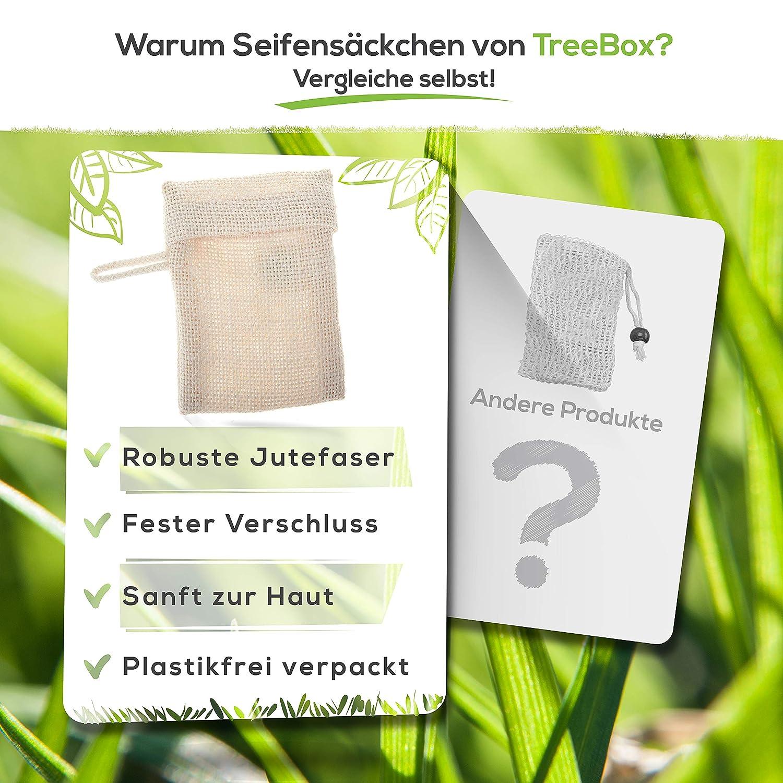 TreeBox Zero Waste Seifens/äckchen aus Jute mit Kordel aus Baumwolle Besonders praktischer Klappverschluss Perfekt f/ür Seifen und Seifenreste 3er Set