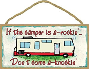 """If The Camper is a Rockin Don't Come Knockin Rv Travel Trailer Sign Wall Plaque 5""""x10"""""""