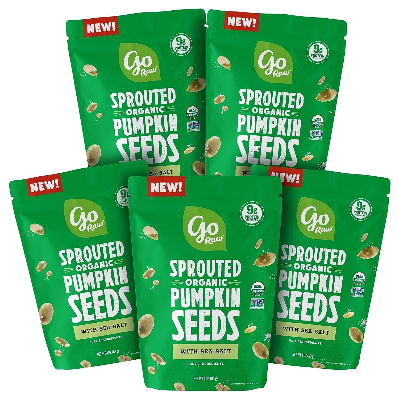 Go Raw Seeds Snack Mix with Sea Salt Bags, Keto, Vegan, Gluten Free, Organic, Superfood, Pumpkin, 4 oz, 5 Count