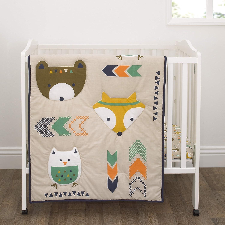Little Love by NoJo Aztec - Navy, Teal & Orange Bear, Fox & Owl 3Piece Mini Crib Set with Comforter, 2 Fitted Mini Crib Sheets, Navy, Teal, Orange, Cream