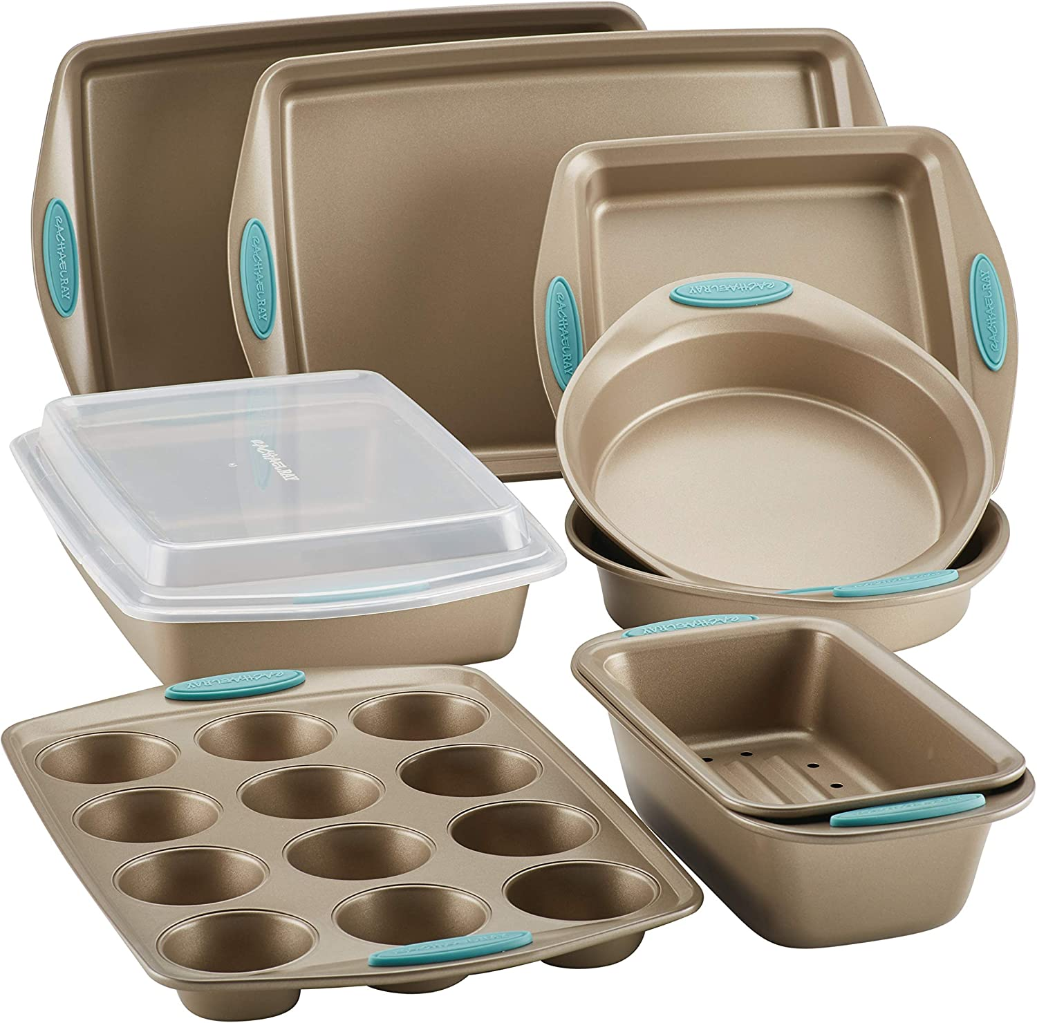 Rachael Ray Cucina Nonstick Bakeware Set with Grips, 10 Piece
