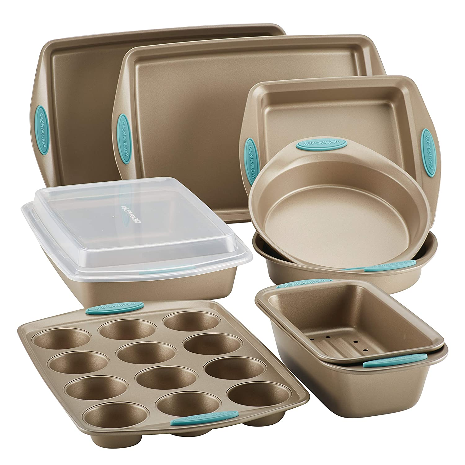 Rachael Ray 47578 10-Piece Steel Bakeware Set, Agave Blue