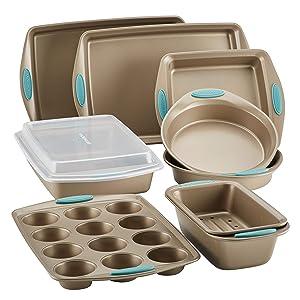 Rachael Ray 47578 10-Piece Steel Bakeware Set, Agave Blue