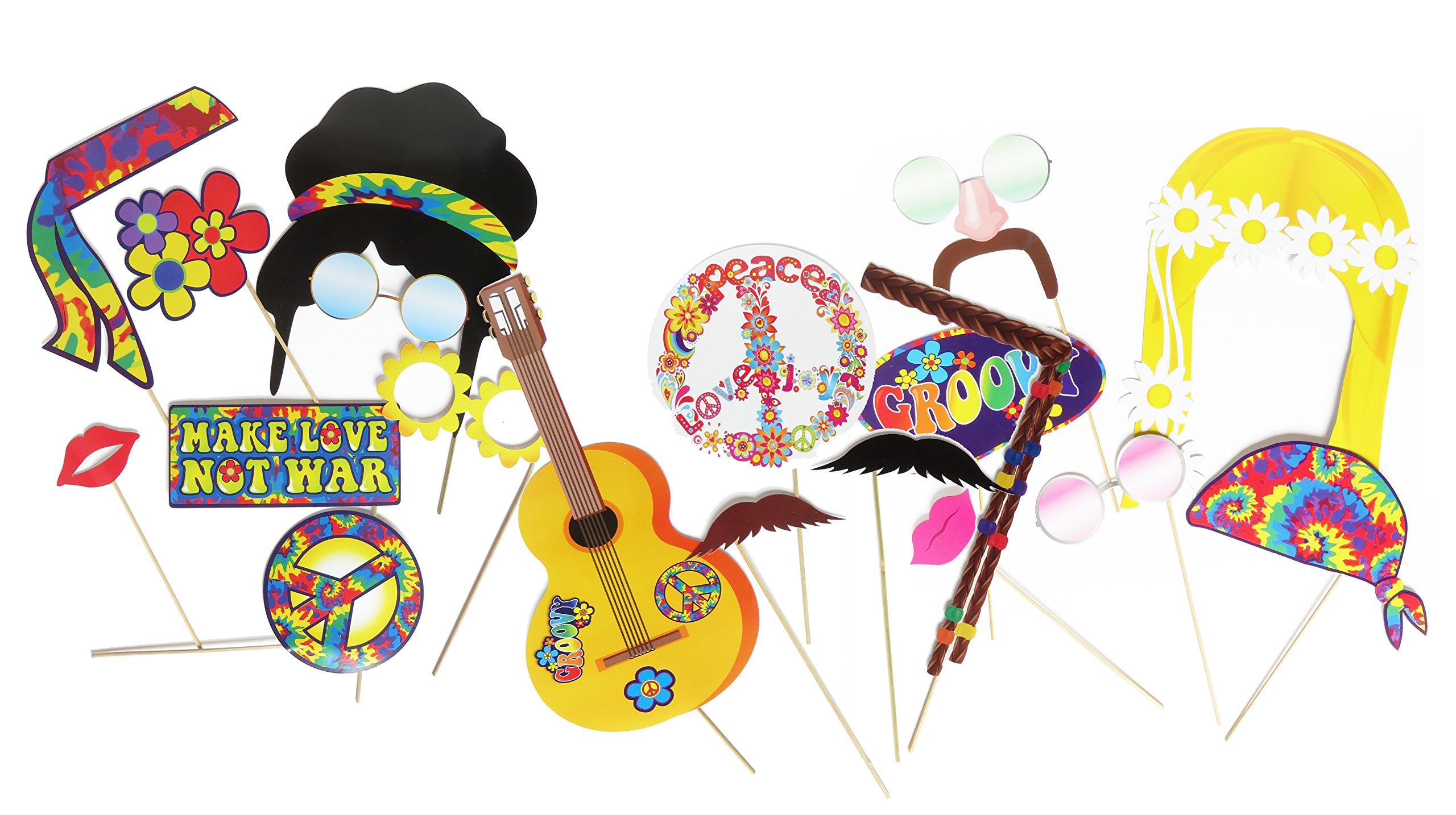 Hippie Decor Party Photo Booth Props by Express Novelties Online by Express Novelties Online