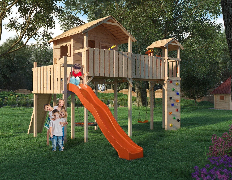ponticulus xxl spielturm baumhaus mit rutsche schaukel kletterwand nestschaukel fernglas und. Black Bedroom Furniture Sets. Home Design Ideas